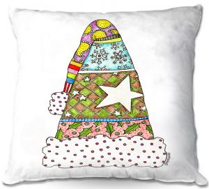 Throw Pillows Decorative Artistic | Marley Ungaro - Santa Hat White | Santa Hat Holidays Christmas