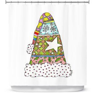 Premium Shower Curtains | Marley Ungaro - Santa Hat White | Santa Hat Holidays Christmas