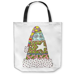 Unique Shoulder Bag Tote Bags | Marley Ungaro - Santa Hat White | Santa Hat Holidays Christmas