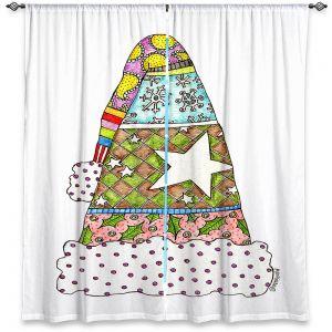 Decorative Window Treatments | Marley Ungaro - Santa Hat White | Santa Hat Holidays Christmas