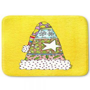 Decorative Bathroom Mats   Marley Ungaro - Santa Hat Yellow   Santa Hat Holidays Christmas