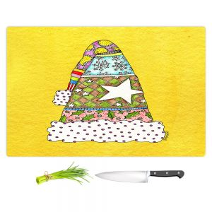 Artistic Kitchen Bar Cutting Boards | Marley Ungaro - Santa Hat Yellow | Santa Hat Holidays Christmas