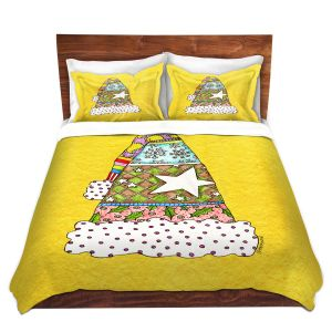 Artistic Duvet Covers and Shams Bedding | Marley Ungaro - Santa Hat Yellow | Santa Hat Holidays Christmas