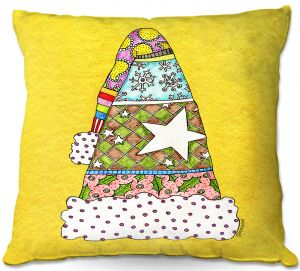 Decorative Outdoor Patio Pillow Cushion   Marley Ungaro - Santa Hat Yellow   Santa Hat Holidays Christmas