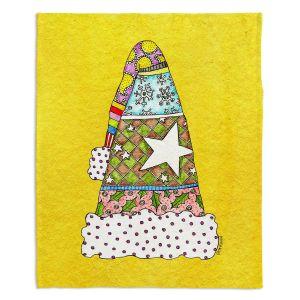 Decorative Fleece Throw Blankets | Marley Ungaro - Santa Hat Yellow | Santa Hat Holidays Christmas