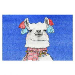 Decorative Floor Covering Mats   Marley Ungaro - Scarf Llama Blue   watercolor animal