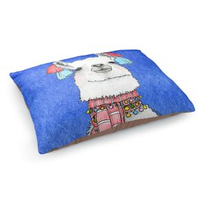 Decorative Dog Pet Beds | Marley Ungaro - Scarf Llama Blue | watercolor animal