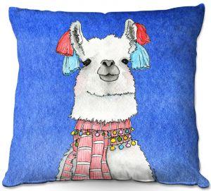 Decorative Outdoor Patio Pillow Cushion | Marley Ungaro - Scarf Llama Blue | watercolor animal