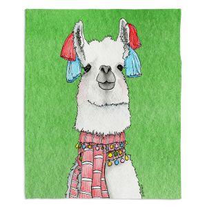 Decorative Fleece Throw Blankets | Marley Ungaro - Scarf Llama Green | watercolor animal