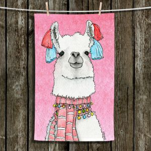 Unique Bathroom Towels | Marley Ungaro - Scarf Llama Lt Pink | watercolor animal