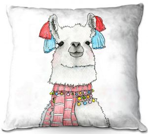 Decorative Outdoor Patio Pillow Cushion | Marley Ungaro - Scarf Llama White | watercolor animal