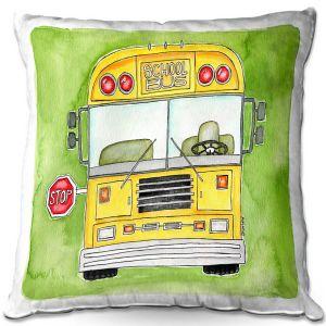 Throw Pillows Decorative Artistic   Marley Ungaro - School Bus   School Kids