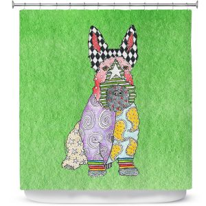 Premium Shower Curtains | Marley Ungaro - Scottish Terrier Green