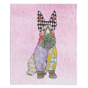 Decorative Fleece Throw Blankets | Marley Ungaro - Scottish Terrier Pastel Pink