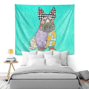 Artistic Wall Tapestry   Marley Ungaro - Scottish Terrier Turquoise