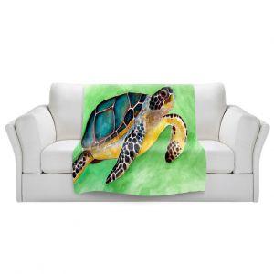 Artistic Sherpa Pile Blankets | Marley Ungaro - Sea Turtle | Ocean nature creature reptile