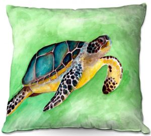 Decorative Outdoor Patio Pillow Cushion   Marley Ungaro - Sea Turtle   Ocean nature creature reptile