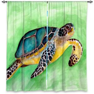 Decorative Window Treatments | Marley Ungaro - Sea Turtle | Ocean nature creature reptile