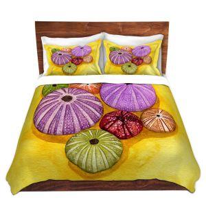 Artistic Duvet Covers and Shams Bedding | Marley Ungaro - Seaurchin Shells | Ocean seashell still life nature