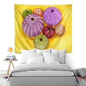 Artistic Wall Tapestry | Marley Ungaro - Seaurchin Shells | Ocean seashell still life nature