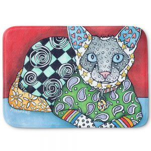 Decorative Bathroom Mats | Marley Ungaro - Siamese Cat | Pattern whimsical abstract