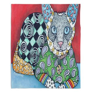Artistic Sherpa Pile Blankets | Marley Ungaro - Siamese Cat | Pattern whimsical abstract