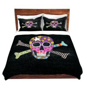 Artistic Duvet Covers and Shams Bedding | Marley Ungaro - Skull and Cross Bones Black | Skull and Cross Bones Stylized
