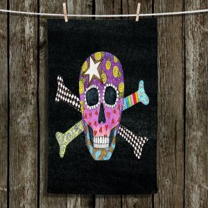 Unique Bathroom Towels | Marley Ungaro - Skull and Cross Bones Black | Skull and Cross Bones Stylized