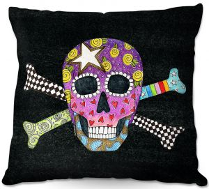 Throw Pillows Decorative Artistic | Marley Ungaro - Skull and Cross Bones Black | Skull and Cross Bones Stylized