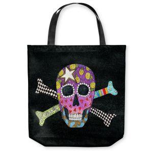 Unique Shoulder Bag Tote Bags | Marley Ungaro - Skull and Cross Bones Black | Skull and Cross Bones Stylized