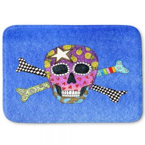 Decorative Bathroom Mats | Marley Ungaro - Skull and Cross Bones Blue | Skull and Cross Bones Stylized