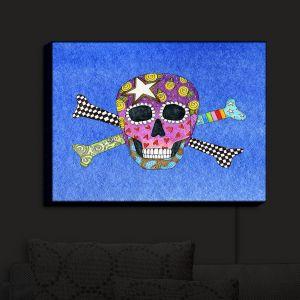 Nightlight Sconce Canvas Light | Marley Ungaro - Skull and Cross Bones Blue