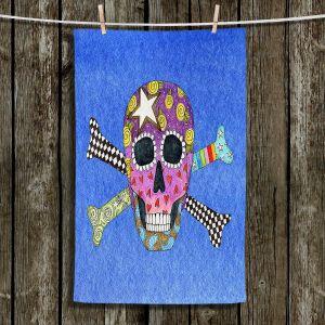 Unique Hanging Tea Towels | Marley Ungaro - Skull and Cross Bones Blue | Skull and Cross Bones Stylized