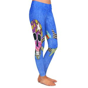 Casual Comfortable Leggings | Marley Ungaro - Skull and Cross Bones Blue | Skull and Cross Bones Stylized