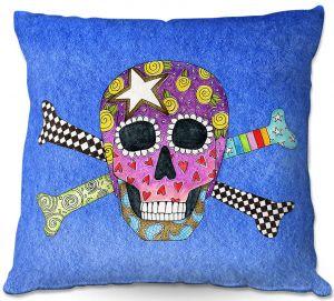 Decorative Outdoor Patio Pillow Cushion | Marley Ungaro - Skull and Cross Bones Blue | Skull and Cross Bones Stylized