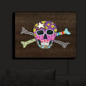 Nightlight Sconce Canvas Light   Marley Ungaro - Skull and Cross Bones Brown