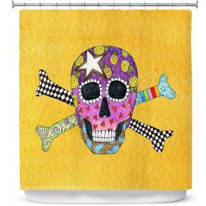 Premium Shower Curtains | Marley Ungaro - Skull and Cross Bones Gold | Skull and Cross Bones Stylized