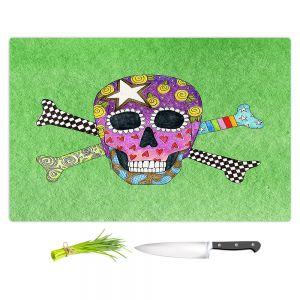 Artistic Kitchen Bar Cutting Boards   Marley Ungaro - Skull and Cross Bones Green   Skull and Cross Bones Stylized