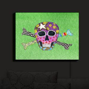Nightlight Sconce Canvas Light | Marley Ungaro - Skull and Cross Bones Green