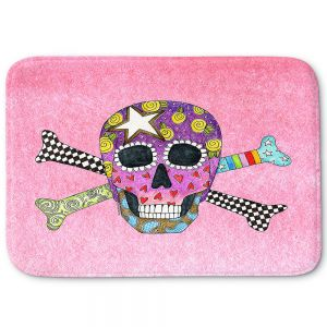 Decorative Bathroom Mats | Marley Ungaro - Skull and Cross Bones Light Pink | Skull and Cross Bones Stylized