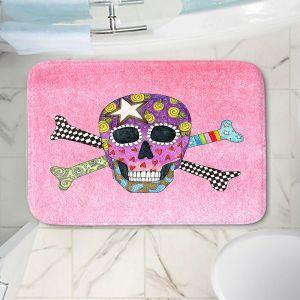 Decorative Bathroom Mats | Marley Ungaro - Skull and Cross Bones Light Pink | Skull and Cross Bones Stylized