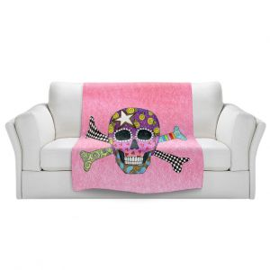 Artistic Sherpa Pile Blankets   Marley Ungaro - Skull and Cross Bones Light Pink   Skull and Cross Bones Stylized