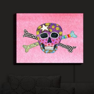 Nightlight Sconce Canvas Light | Marley Ungaro - Skull and Cross Bones Light Pink