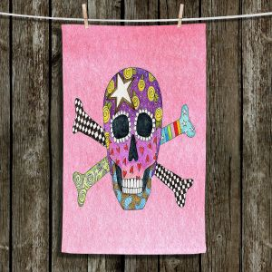 Unique Hanging Tea Towels | Marley Ungaro - Skull and Cross Bones Light Pink | Skull and Cross Bones Stylized