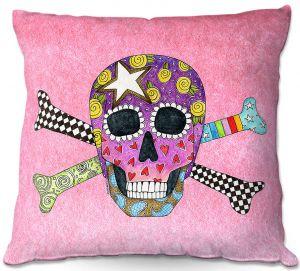 Decorative Outdoor Patio Pillow Cushion | Marley Ungaro - Skull and Cross Bones Light Pink | Skull and Cross Bones Stylized