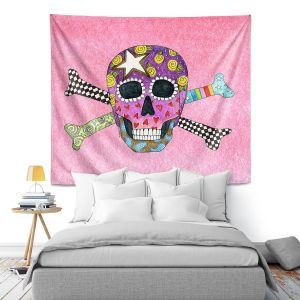 Artistic Wall Tapestry | Marley Ungaro - Skull and Cross Bones Light Pink | Skull and Cross Bones Stylized