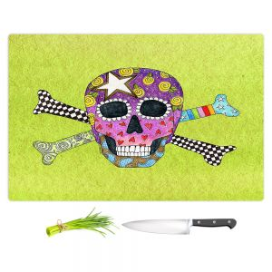 Artistic Kitchen Bar Cutting Boards   Marley Ungaro - Skull and Cross Bones Lime   Skull and Cross Bones Stylized