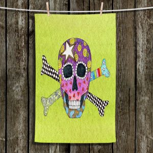 Unique Bathroom Towels   Marley Ungaro - Skull and Cross Bones Lime   Skull and Cross Bones Stylized