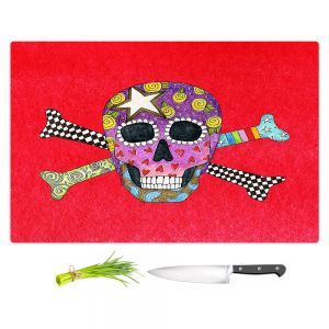 Artistic Kitchen Bar Cutting Boards | Marley Ungaro - Skull and Cross Bones Red | Skull and Cross Bones Stylized