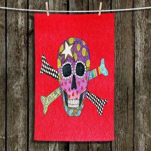 Unique Bathroom Towels | Marley Ungaro - Skull and Cross Bones Red | Skull and Cross Bones Stylized